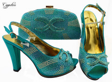 Most fashion teal high heel sandal shoes and handbag set with rhinestones JZS-03 heel height 11cm