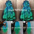 Christmas Mermaid Hair Blue/Green Ombre Hair Natural Long Wave Glueless Synthetic Lace Front Wig Heat Resistant Hair NEW WigHair