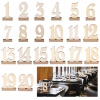 1 20 / pack Wooden party table number tag stand wedding table number holder rustic hessian wedding table decoration