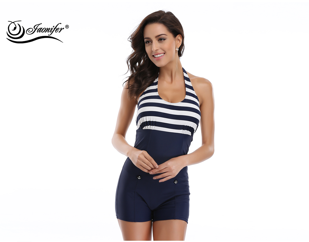 efe253a49b446 ... JAONIFER One Piece Swimwear Women Halter Backless Navy Patchwork Style Women's  Swimming Bathing Suit Swimsuits Button ...