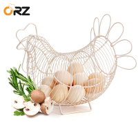 Chicken Design Egg Basket White Metal Wire Quail Egg Storage Container Vintage Farmhouse Kitchen Food Fruit Storage Basket
