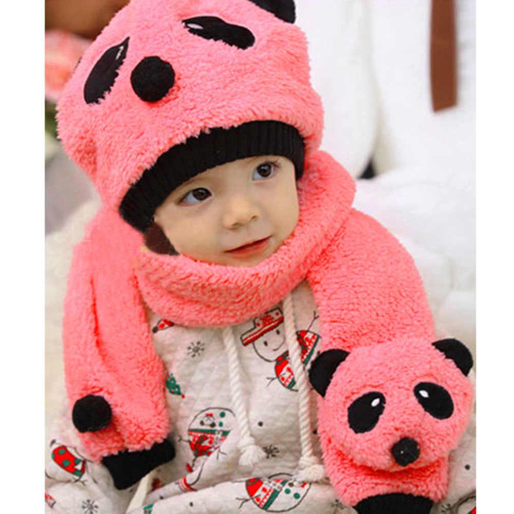... Детские зимние теплые шапки и шарф комплект для мальчиков и девочек  милые шапки в виде панды ... 55fb6d033b5e1
