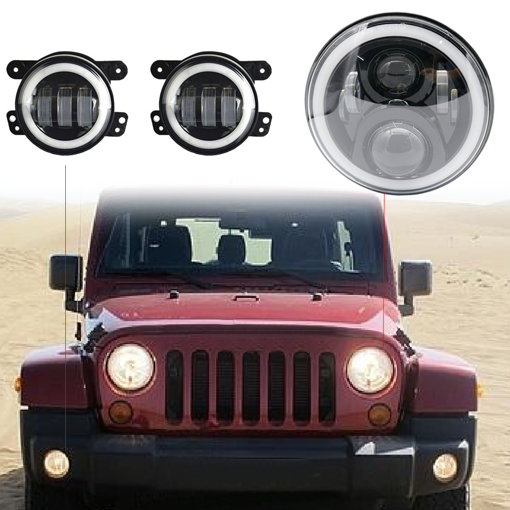 7 Inch Projector Led Headlights With DRL Hi/lo Beam + 2pcs 4 Inch Led Fog Lamps White Halo Ring DRL For Jeep Wrangler JK 7 Inch Projector Led Headlights With DRL Hi/lo Beam + 2pcs 4 Inch Led Fog Lamps White Halo Ring DRL For Jeep Wrangler JK