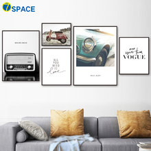 7-Space Vogue Radio Car Quotes Vintage Wall Art Canvas Painting Nordic Posters And Prints Pictures For Living Room Decor