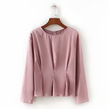 5772f7002bb new women vintage o neck long sleeve pleated pink Shirt blouses women  casual tops retro business