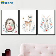 Rabbit Hedgehog Deer Bear Fox Posters And Prints Wall Art Canvas Painting Nordic Poster Decoration Pictures For Kids Room Decor