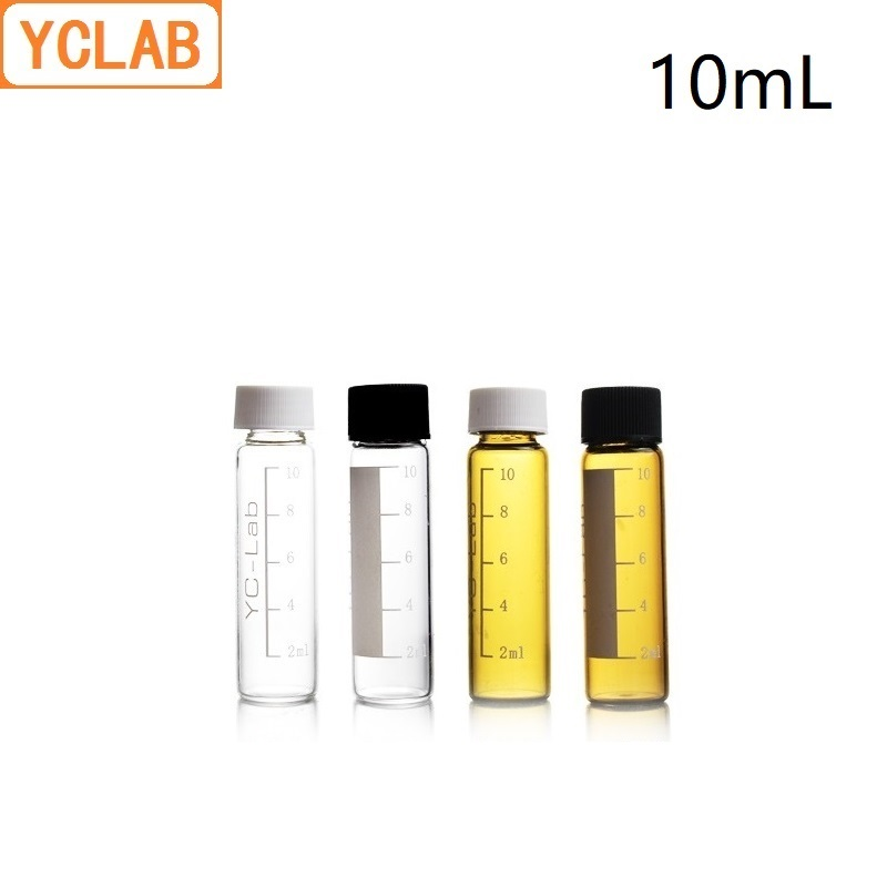 US $0 53 10% OFF|YCLAB 10mL Chromatographic Sample Analysis Bottle Glass  Vial Transparent Brown Screw with Graduation Plastic Cap Silica Gel Pad-in