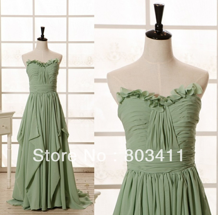 Strapless A-line Sweetheart Ruffle Floor-length Chiffon Prom Party   Bridesmaid     Dresses
