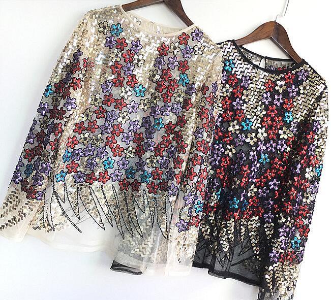 Femmes printemps été piste mode perspective maille chemise femme bling bling paillettes perlé couverture en dentelle TB1122