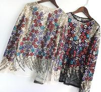 Women's spring summer Runway fashion perspective Mesh shirt female bling bling sequins beaded lace tops TB1122