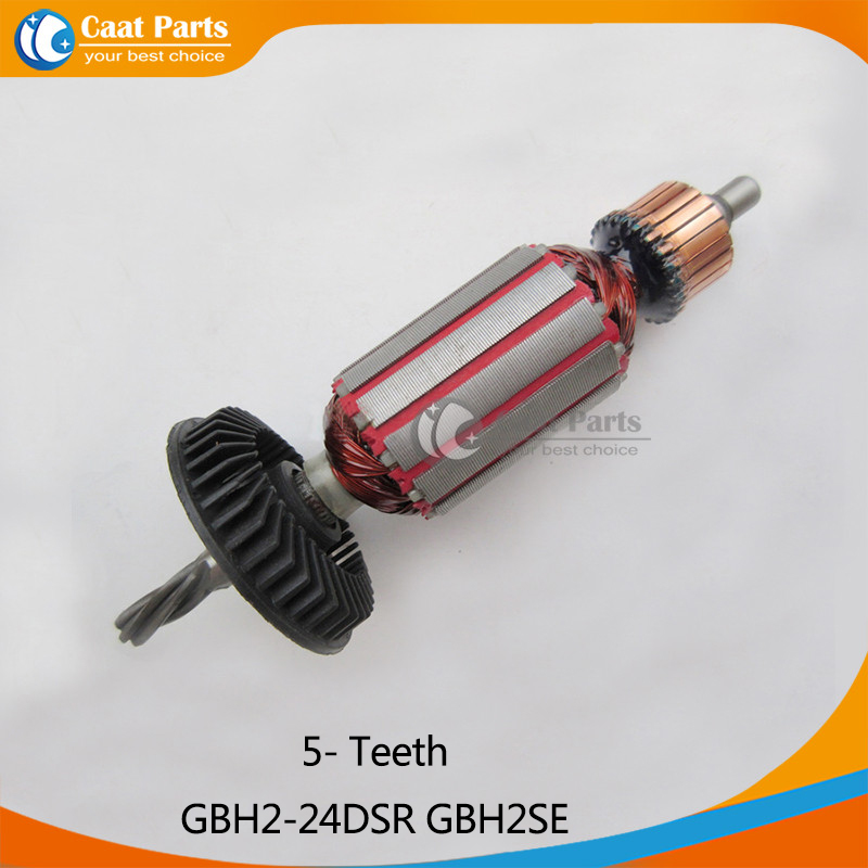 AC 220V 5- Teeth Drive Shaft Electric Hammer Armature Rotor for Bosch GBH2-24DSR GBH2SE, Free shipping! 1pcs silver or gold tone aluminum metal electric hammer piston part cylinder for bosch gbh 2 26 2 20 2 24