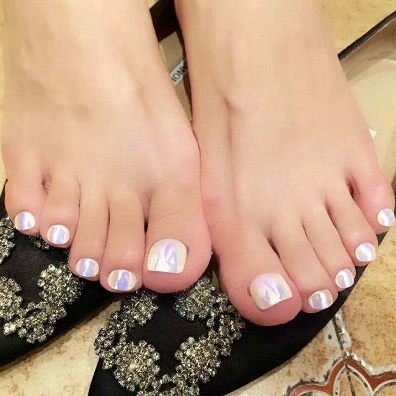 Fashion Mermaid Fake Nails Toenail Cameleon Mirror White Full Cover Acrylic False Toe Nail Manicure Tools In From Beauty Health On