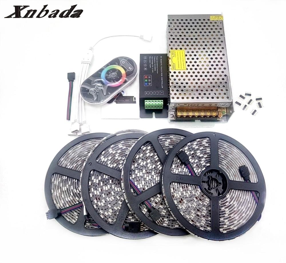 Lights & Lighting Xnbada Dc12v Rgb 5050 Led Strip Ip30/ip65 Led Flexible Tape+rf Rgb Remote Controller+power Adapter Kit 5m 10m 15m 20m Easy To Lubricate