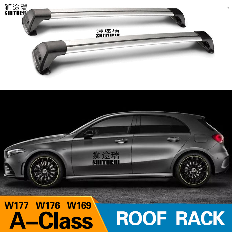 2 pcs For <font><b>Mercedes</b></font>-Benz A-Class <font><b>W177</b></font> W176 W169 roof bar car special aluminum alloy belt lock Led shooting RACK CORSS rack 2018 image