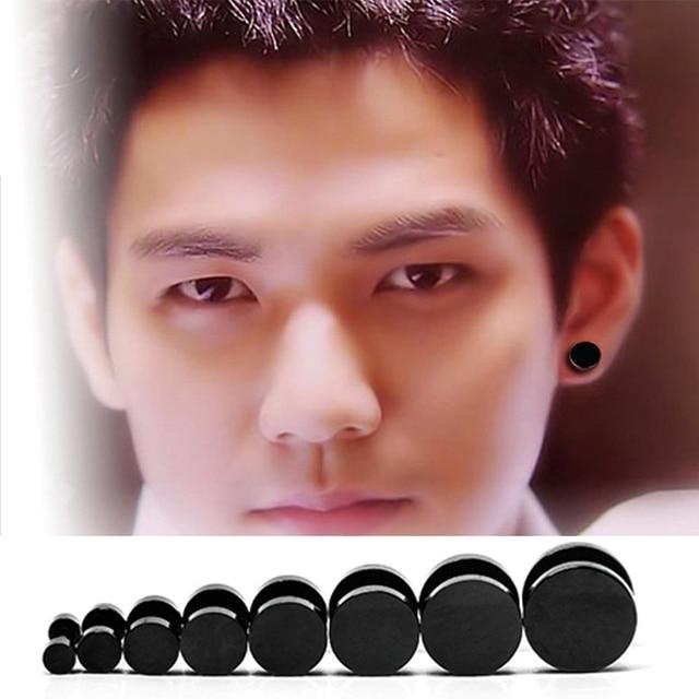 Alisouy Wholesale Fashion Black Steel Stainless Steel Earrings Women Men's Barbell Dumbbell Punk Gothic Stud Earring For men