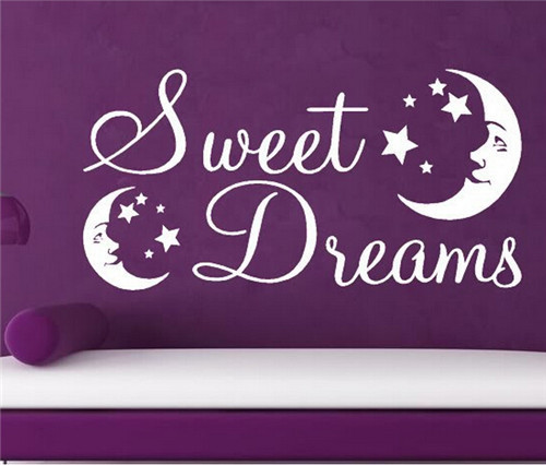 Wall Poster Quotes Sweet Dreams with Moon and Stars Wall Decals Vinyl Baby Boys Girls Wall Stickers Wallpaper menina