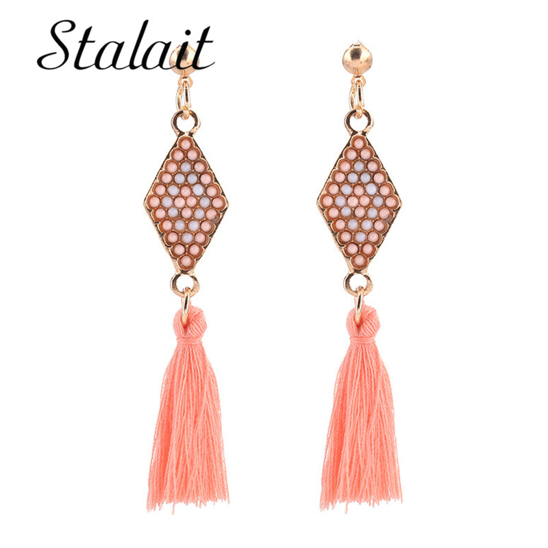 New Fashion Jewelry Ethnic Ribbon Inlaid Beads Long Hair Tassel Bohemia Earrings For Women Long Skirt Accessories