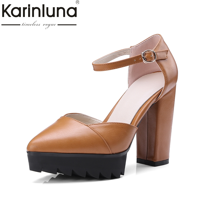 KarinLuna Big Size 32-42 Brand Shoes Women Sexy Best Quality High Heels Platform Party Wedding Shoes Pumps Woman karinluna best quality crystals brand big size 34 43 sexy high heels summer sandals shoes women party woman shoes