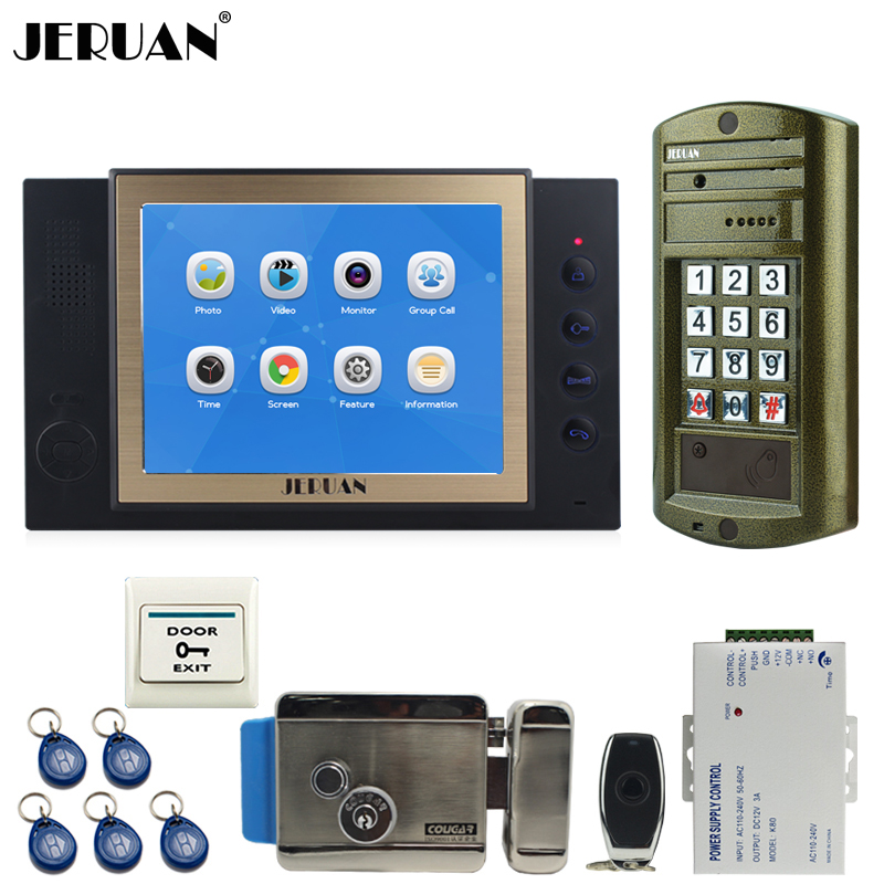 JERUAN 8 inch TFT LCD Color Video Door Phone Intercom System kit Metal Waterproof Access password keypad HD Mini Camera 8GB Card jeruan 8 inch tft video door phone record intercom system new rfid waterproof touch key password keypad camera 8g sd card e lock