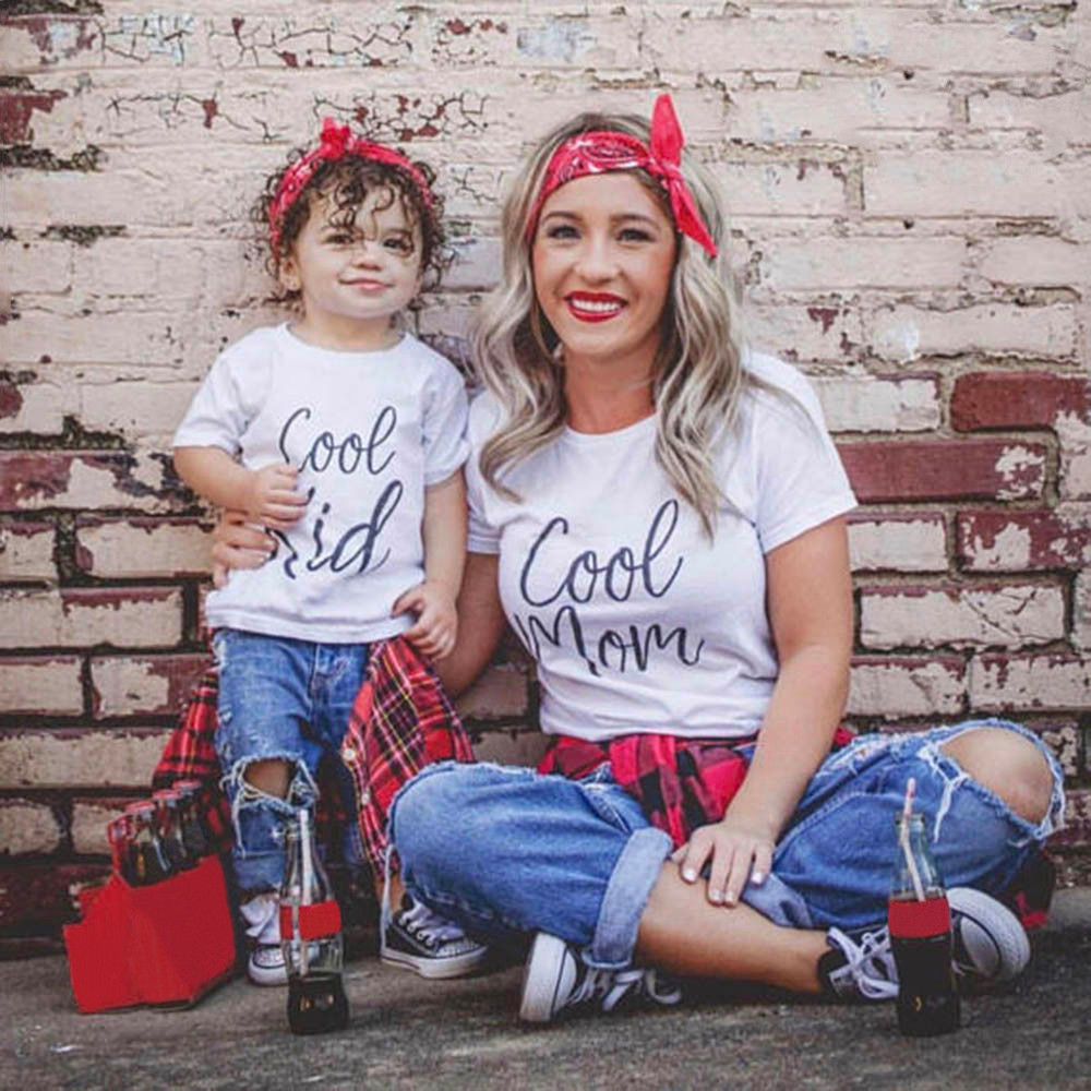 Cool Mom & Cool Kids Mommy And Me Dress Mom Mum Kids Family Matching Tshirt Mother Daughter Son Clothes Family Look Outfits