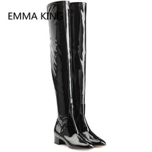 Thigh High Round Toe Patent Leather  Boots