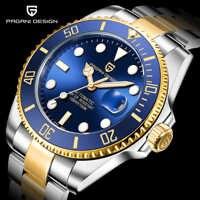 Newpagani série fantasma água clássico azul dial relógios automáticos de luxo dos homens aço inoxidável 100m à prova dwaterproof água relógio mecânico