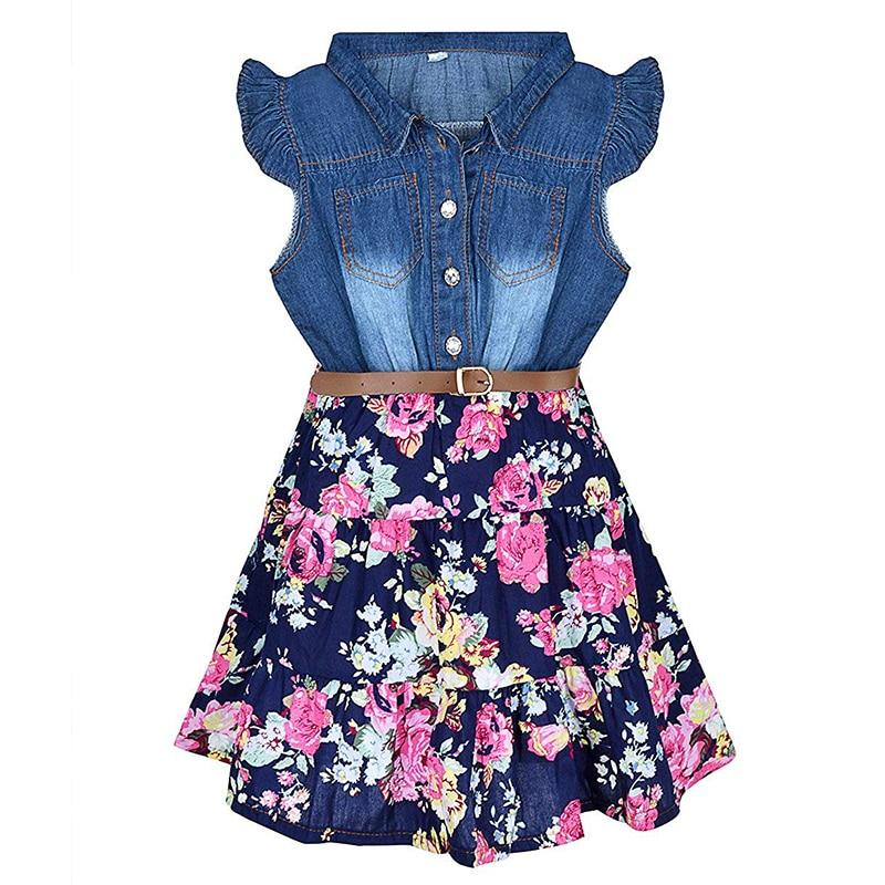 Little Girls Princess Denim Dress Floral Swing Ruffle Dress With Belt Girls Casual Summer Clothes One-Piece 2 3 4 5 6 7 8 Years
