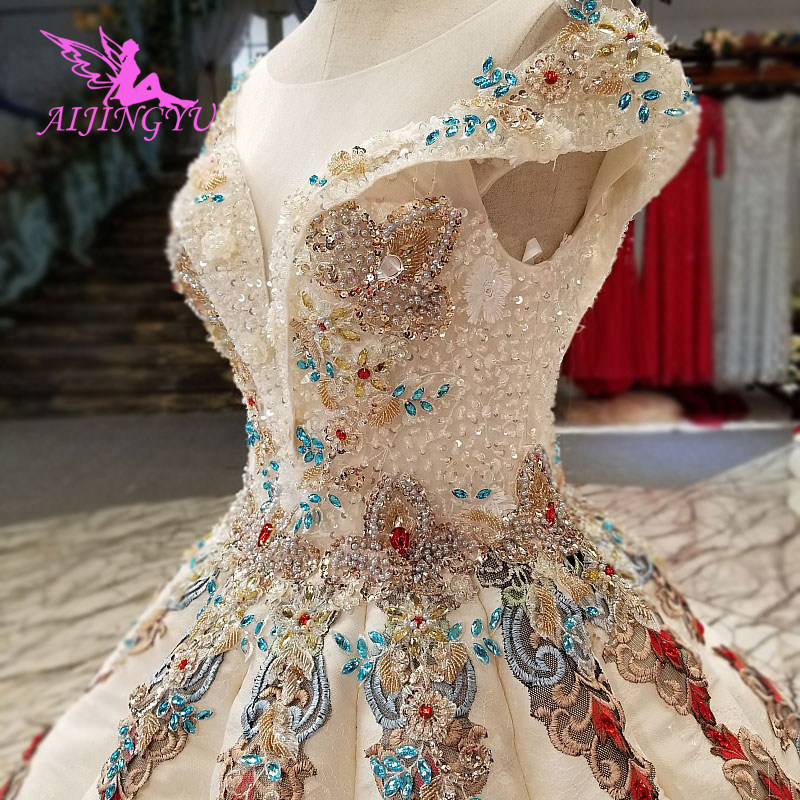AIJINGYU Gown Bridal White New Gown Princess Real Price Lace Vintage Boho Stores This Season'S Wedding Dresses