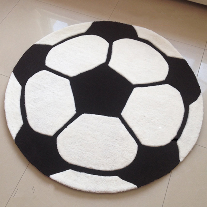 Cartoon Football Pattern Carpet Boy Children Room Carpet Cushion Pad  Thickening Round Computer Rug Mat Acrylic