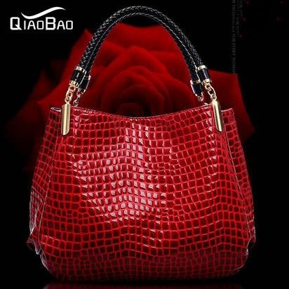 QIAOBAO 2017 Fashion Patent Leather Bag Cowhide Women's Tassel Bag Shoulder Bag Vintage Handbag 3 Colors Gift AR634 CX60 patent leather handbag shoulder bag for women