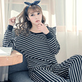 Pajamas Sets Women Striped Cotton Carton Fashion Women Long Sleeve Sleepwear Suit 2 piece Sexy Spring Home Nightwear Women Gift