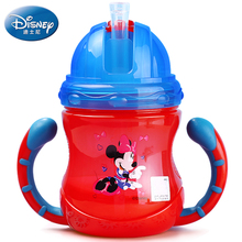 Disney Baby Bottle with handle Sippy Cup Baby Cartoon mickey minnie small kettle with straw for children training drinkware