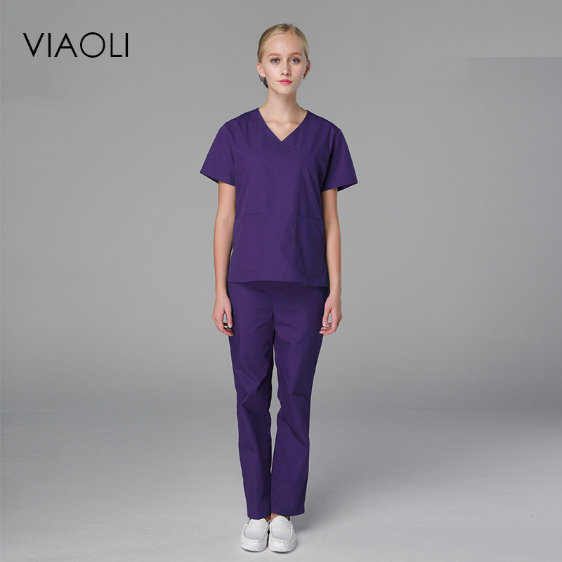 2019 Viaoli Women Uniform Medicos Medical  Men And Women Suits Blue Surgical Gowns Clothesbrush Hand Clothes Nurse Doctor Cotton