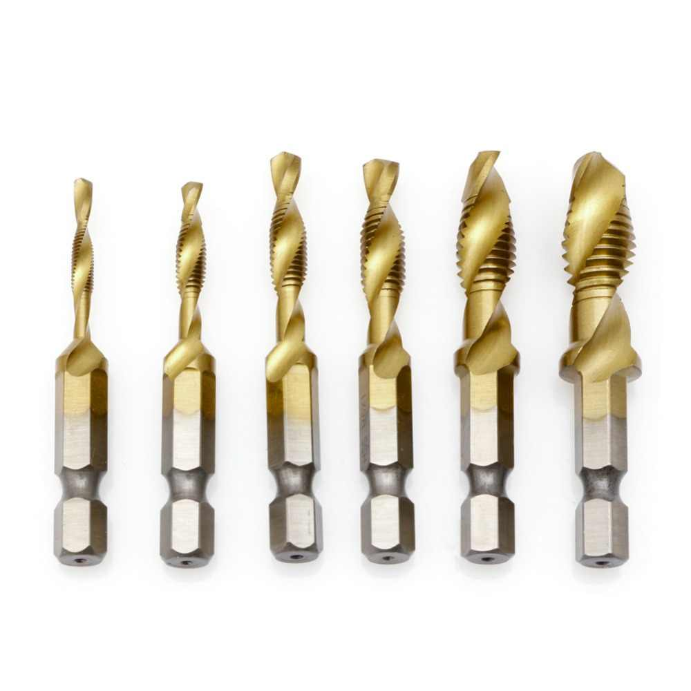 6 Pcs M3-M10 Hex Shank Titanium Plated HSS Hand Screw Thread Metric Plug Tap Drill Bits