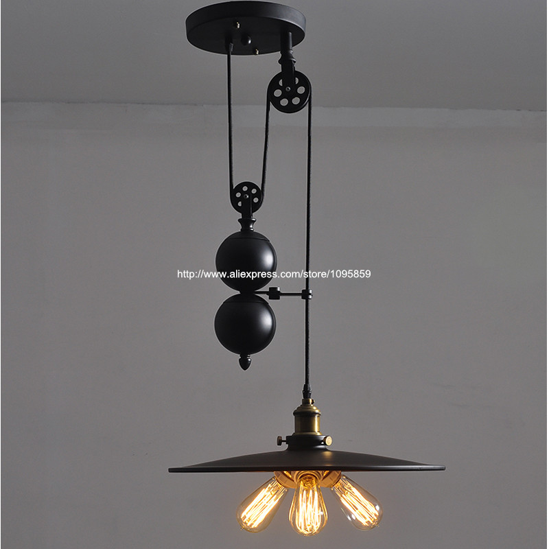 3 Lights Pulley Lift Adjustable Industrial Vintage Pendant Light Lamp Dining Room Iron Retro Ceiling Fixtures Lighting In From