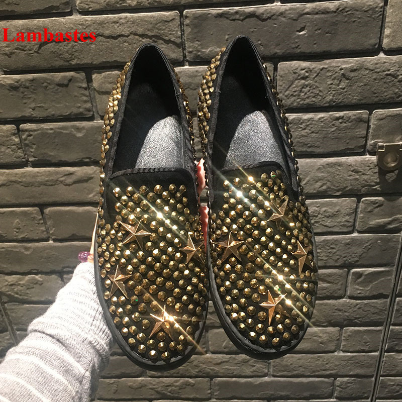 Gold Rivet Embellished Star Metal Decoration Round Toe Loafers Men Slip On Lazy Shoes Fashion Spring Autumn Casual Shoes Hommes fashion crystal embellished woman shoes gold metallic round toe slip on casual shoes 2017 high quality suede loafers
