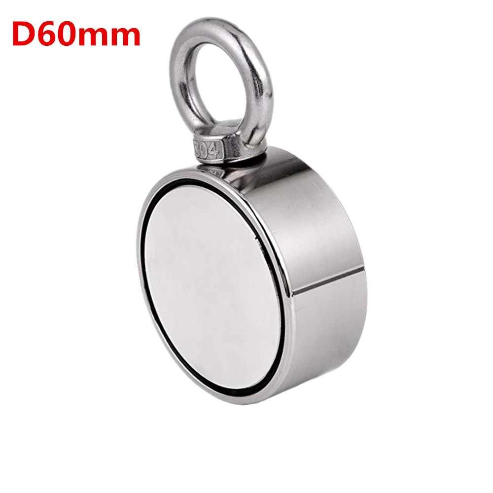 1pc D60mm Holder strong powerful fishing salvage Double-side neodymium Magnets Pulling Mounting Pot with ring gear sea equipment цена