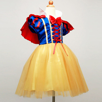 New Snow White Princess Dress With Red Cape And Bow Kid Girl Dresses Halloween Party Cosplay