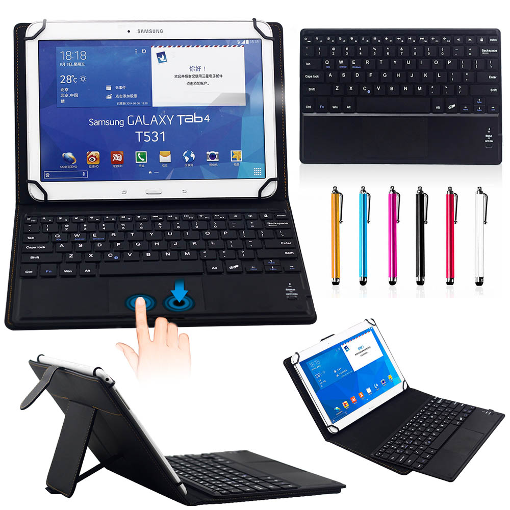 9-10.1 Universal 2 in 1 Removable wireless Bluetooth Keyboard + PU Leather Case For 9-10.1 Android /Windows Tablet PC wireless removable bluetooth keyboard case cover touchpad for lenovo miix 2 3 300 10 1 thinkpad tablet 1 2 10 ideapad miix