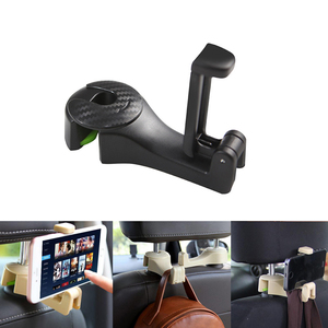 Car Hooks Car Seat Hooks with Phone Holder Universal Car Headrest Hooks Hanger for Hanging Purse, Bag, Cloth, Grocery 1PCS
