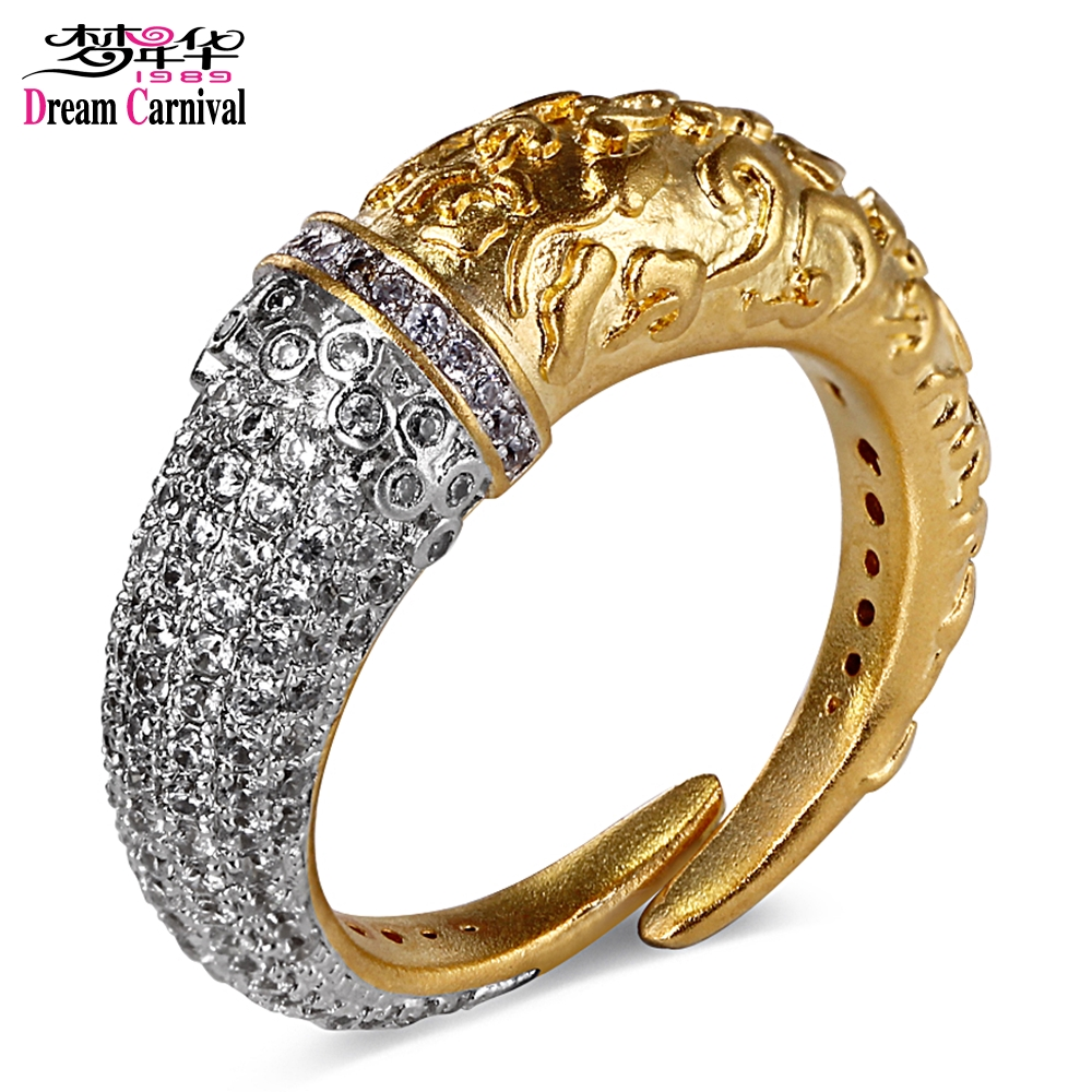 Dreamcarnival 1989 Carved Design Rhodium Gold Color Rings for Women Vintage Wedding Engagement Jewelry Open End Horn Look SR2307