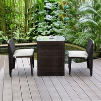 3 pcs Wicker Patio Cushioned Outdoor Chair and Table Set Strong Steel Frame with Removable Sponge Cushions Assembly HW49296
