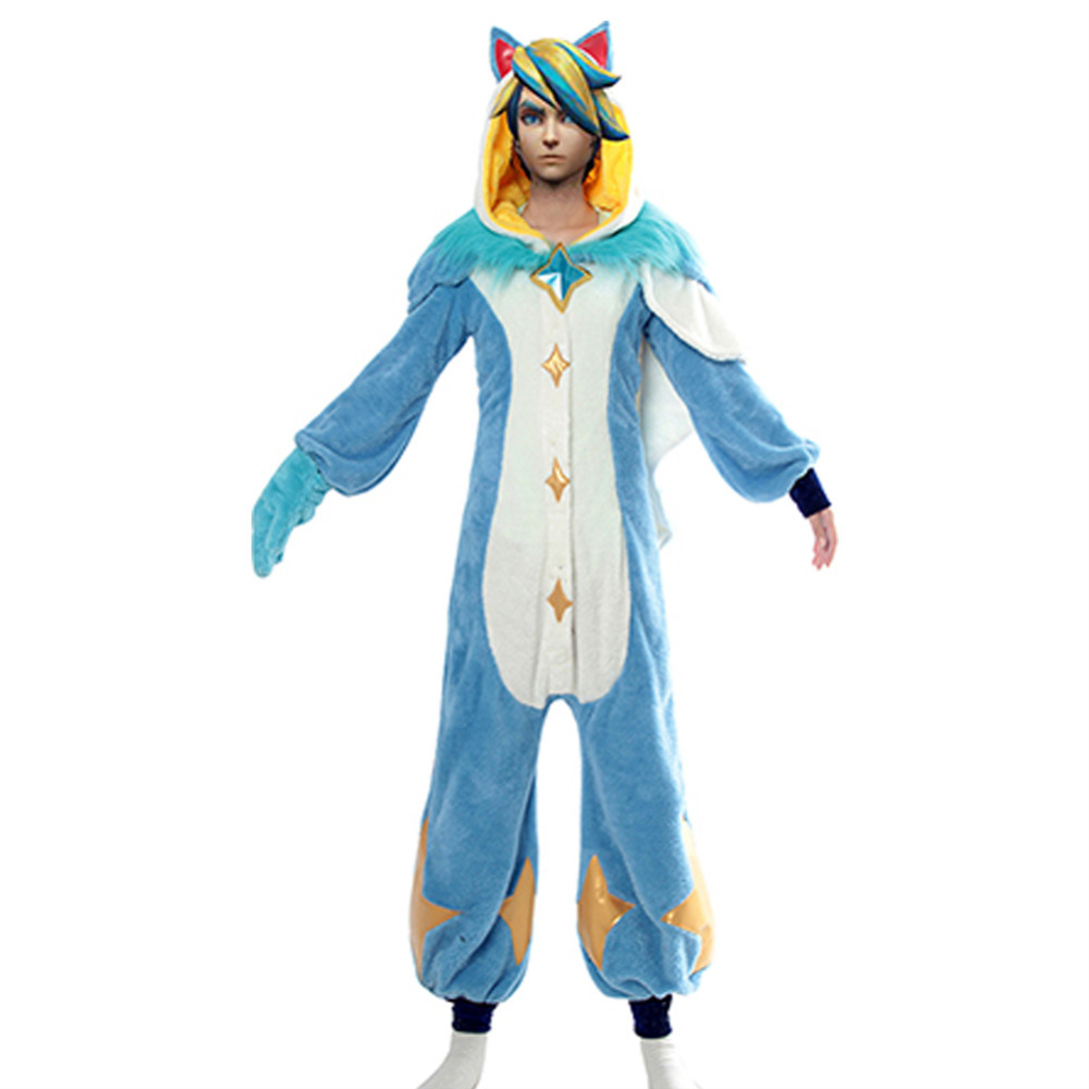 LOL Cosplay Star Guardian Ezreal Pajama Cosplay Costume New Skin Jumpsuit Men Halloween Party Costume Cartoon Sleepwear Fleece