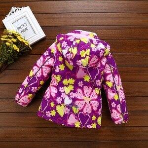Image 2 - Fashion Heavyweight Children Outfits Waterproof Purple Printing Baby Girls Jackets Warm Cotton Winter Child Coat 3 12 Years Old