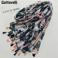 Guttavalli Women Gold Pressed Flowers Long Shawl Female Cotton Plaid Tassels Wraps Bohemia Chevron Sequins Summer
