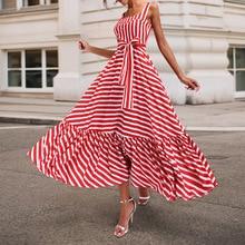 Summer Vintage Red Striped Long Dresses Elegant Casual Plus Size Women Sleeveless Belt Lace Up Ladies Female Retro Ruffles Dress plus striped lace up cami dress