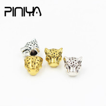 Leopard Head Charms Beads Jewelry Components Micro Pave CZ Spacer Round DIY Bracelet Accessories