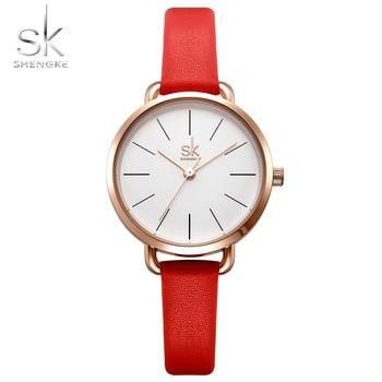 SHENGKE 2018 新赤革ストラップ女性は、シンプルなダイヤルレディースクォーツ時計カラフルな選択フリースタイルレロジオ Feminino