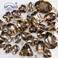 Блестящие кристаллы, пришивные стразы светильник-коричневые камни для украшения одежды, свободные стеклянные стразы с когтями, 50 цветов, S051