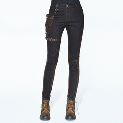 Готические черные модные карманные декоративные брюки женские стимпанк повседневные хлопковые колготки с пуговицами черные коричневые сш...